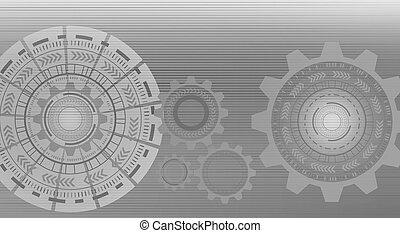 グラフィック, 抽象的, 隔離された, イラスト, 灰色, 背景, hud., デザイン, circles., 技術, 3d