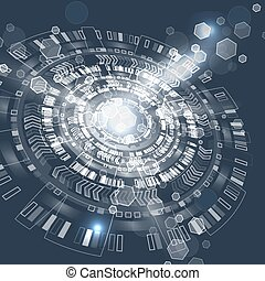 グラフィック, 抽象的, techno, ユーザー, interface., circle., 未来派