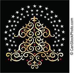 グラフィック, 木, クリスマス