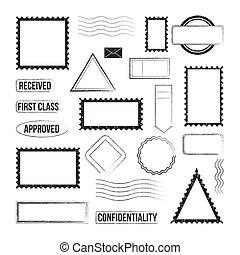 グラフィック, 消印, ベクトル, スタンプ, イラスト, isolated., セット, アイコン, 郵送料