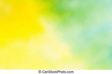 グラフィック, 点を打たれた, 抽象的, 黄色, 水彩画, 緑の背景, デザイン