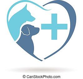 グラフィック, 獣医, 犬, ベクトル, デザイン, logo.