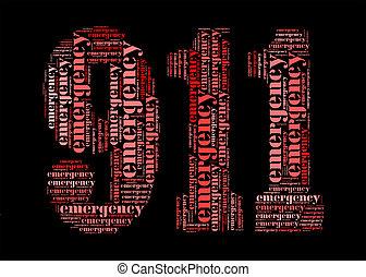 グラフィック, 緊急事態, 整理, 形, 概念, info-text, 911