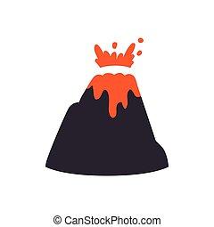 グラフィック, 自然災害, ベクトル, 火山, icon., design.