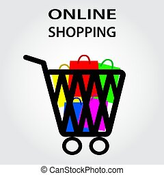 グラフィック, 買い物, イラスト, ベクトル, オンラインで, eps10, デザイン