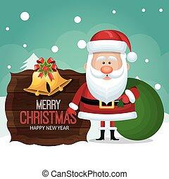 グラフィック, 贈り物, 木製である, claus, 袋, santa, カード