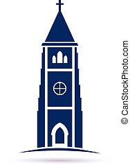 グラフィック, cross., ベクトル, デザイン, 教会, 大聖堂
