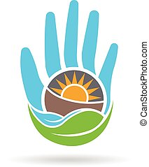 グラフィック, eco, サポート, 手, ベクトル, デザイン, logo., 味方