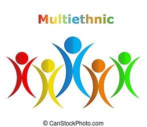 グラフィック, eps10, multiethnic, 人々, イラスト, ベクトル, デザイン