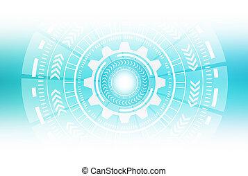 グラフィック, hud., 抽象的, イラスト, 背景, デザイン, circles., 白, 技術, 3d