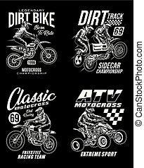 グラフィック, motocross, tシャツ, コレクション