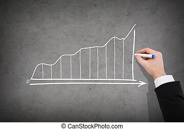 グラフ, の上, ビジネスマン, 成長する, 終わり, 図画