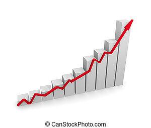 グラフ, アップスイング, 矢, ビジネス, 赤