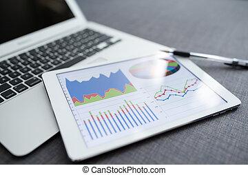 グラフ, コンピュータ, 財政, デジタル