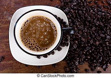 グラフ, コーヒー豆, ビジネス, カップ