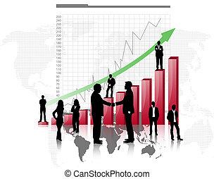 グラフ, シルエット, 赤, ビジネス