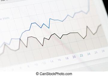 グラフ, スクリーン, モニター, チャート