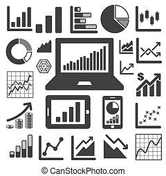 グラフ, セット, ビジネス, アイコン