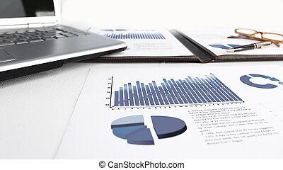 グラフ, タブレット, デジタル, 財政, ラップトップ, デスクトップ