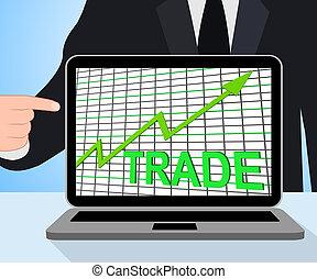 グラフ, チャート, 取引しなさい, 取引, ディスプレイ, 増加, ∥あるいは∥