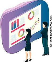 グラフ, チーム, ビジネス 人々