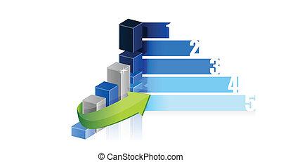 グラフ, デザイン, ビジネス 実例, ステップ
