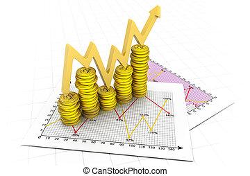 グラフ, ドル, コイン, ビジネス