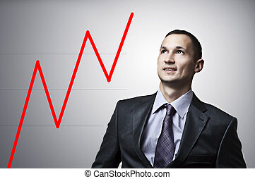 グラフ, ハンサム, ビジネス男
