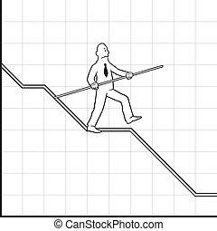 グラフ, バランスをとる, 低下, ビジネス男