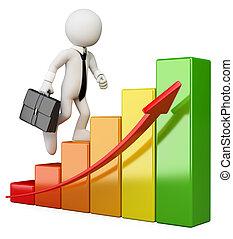 グラフ, ビジネスマン, 人々。, バー, 上昇, 3d, 白