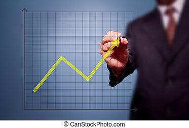グラフ, ビジネス, 上に, 図画, ターゲット, 人, 達成