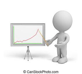 グラフ, ビジネス, -, 人, 3d