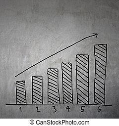 グラフ, ビジネス, 灰色, 壁, バックグラウンド。, 手, 引かれる