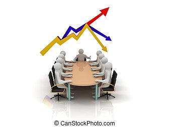 グラフ, ミーティング, ビジネス