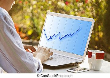 グラフ, ラップトップ・コンピュータ, superavit, 手