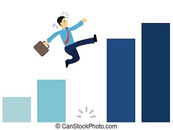 グラフ, 上に, 跳躍, 巨人, ビジネスマン, gap., 動くこと