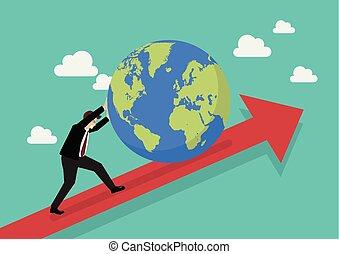 グラフ, 上へ押す, ビジネスマン, 世界