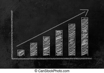 グラフ, 傾向, 黒板, バー, 上向きに