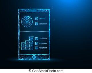 グラフ, 分析的, analytics, polygonal, poly, バックグラウンド。, 青, データ, smartphone, 低い, art., モビール, イラスト, ベクトル