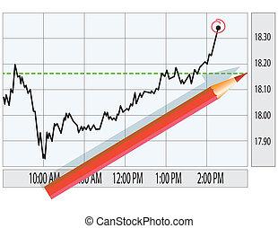 グラフ, 分析, 市場, 株