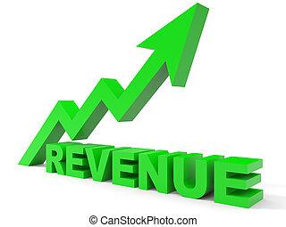 グラフ, 収入, の上, arrow.