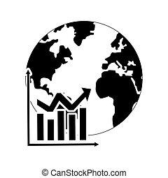 グラフ, 地球, アイコン, チャート, 地球