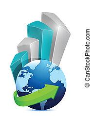 グラフ, 地球, デザイン, ビジネス 実例