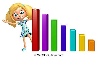 グラフ, 女の子, 子供