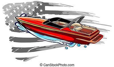 グラフ, 平ら, 旅行, speedboat, シンボル, 観光事業, イラスト, ベクトル, icon.