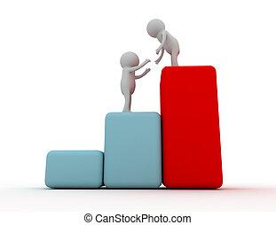 グラフ, 成功, 3d, 人, 助け, 上昇, 概念