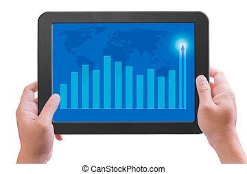 グラフ, 手, pc, パッド, 保有物, 感触, より高く