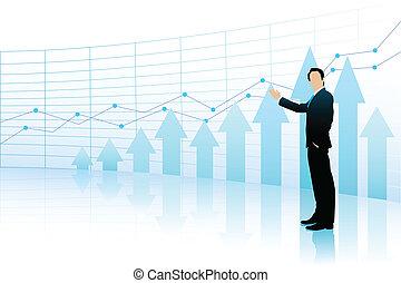グラフ, 提示, バー, ビジネス男