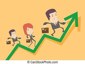 グラフ, 操業, の上, ビジネス 人々