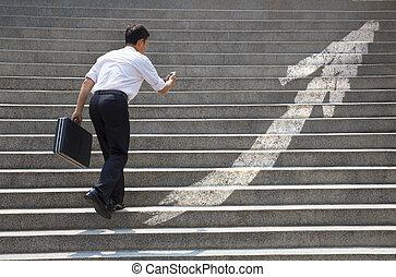 グラフ, 概念, ビジネス, 階段, ビジネスマン